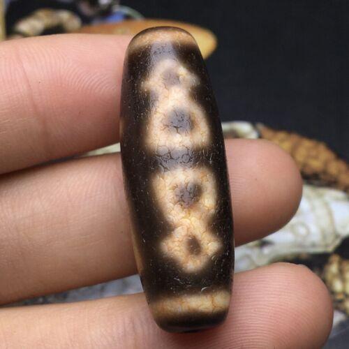 Antique Rare Tibetan Old Agate Dzi *God of wealth* Bead Pendant Amulet 35mm M725