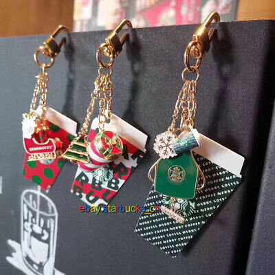 Starbucks 2019 China Merry Christmas Cup Sleigh Apron key chain Pin