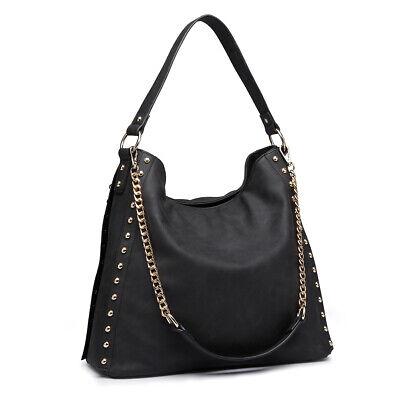 Fashion Women Designer Handbag Ladies Studded Large Slouchy Hobo Shoulder Bag