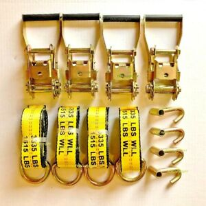 12pcs (4-set) Lasso Wheel Lift Straps Ratchet J Finger Hook Tow Towing Tie Down