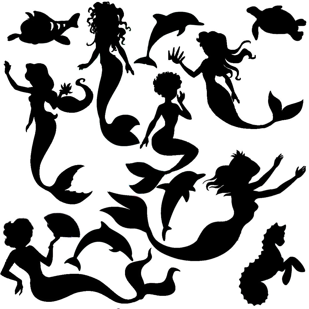 Die Cut outs Silhouette MERMAID, dolphin & FREE coral Card making, fairy jar