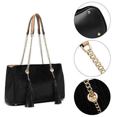 Ladies Chain Quilted Handbag Women's Tassel Shoulder Bag Suede Large Tote Bag