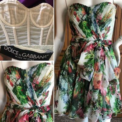 Dolce & Gabbana Vintage Silk Chiffon Floral Dress w Attached Waist Scarf (Dolce Gabbana Floral)