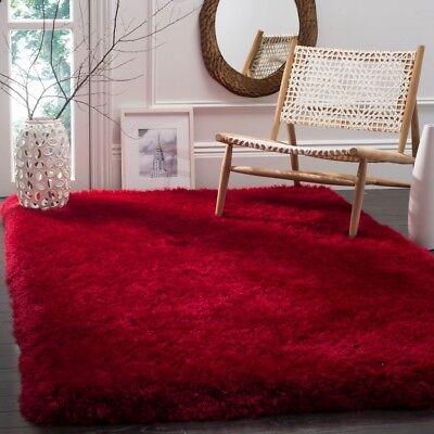 Safavieh Hand-Tufted Red Luxury Shag Area Rugs - SGX160E Square Red Shag Rug