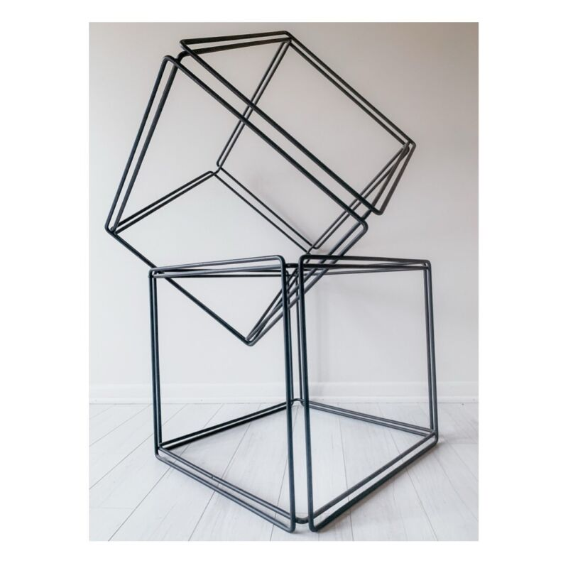 Max Sauze Isocele Wire And Glass Cube Tables