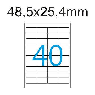 Luma Etiketten 48,5x25,4 mm 20000 Aufkleber 500 Blatt A4 Weiss 48x25