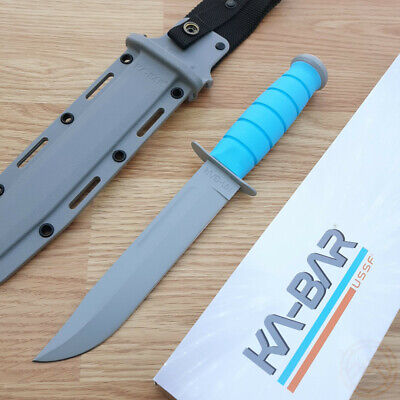 "KaBar USSF Space-Bar Fixed Knife 7"" 1095 Cro-Van Carbon Steel Rubber Blue Handle"