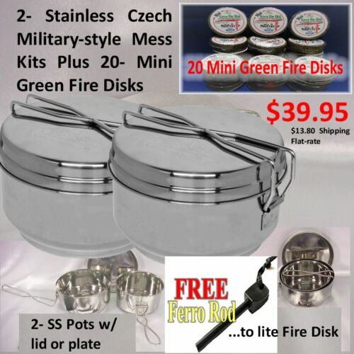 2- SS Czech Military Issued Mess Kit - New $9.98 ea. + 20 Fire Starter Disks