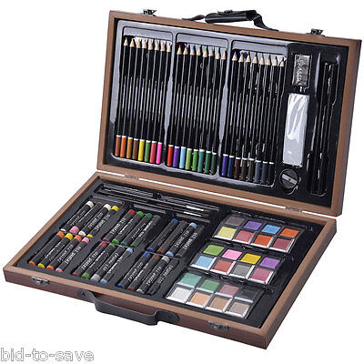 80-Piece Deluxe Art Set Drawing And painting w/ Wood Case & Accessories New