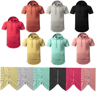 Mens Crew Neck longline t shirt Hooded Side ZIPPER
