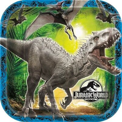 "JURASSIC WORLD - 8 Square PLATES 9"" - Birthday Party Tableware (Dinosaurs/Park)"