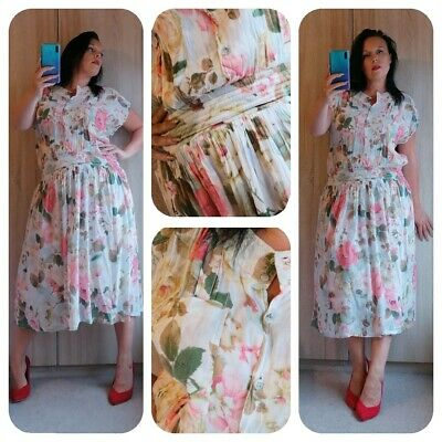 Gorgeous 1980s 90s vintage floaty floral summer tea dress occasion sz M 12 14 16