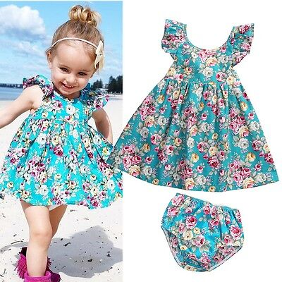 Newborn Kids Baby Girls Summer Ruffle Floral Dress Sundress Briefs Outfits Set