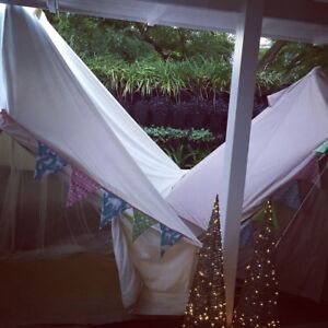 Two delux canvas bell tents with accessories