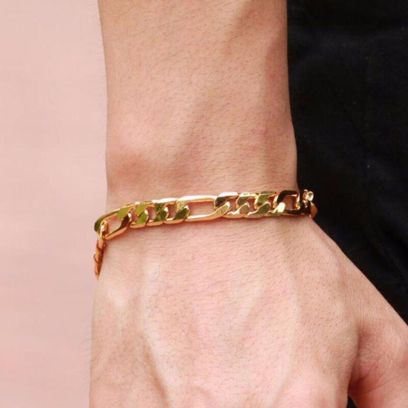18K Yellow Gold Plating Women Mens Bracelet Curb Chain Fashi