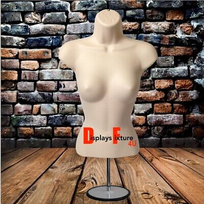 Mannequin For Jewelry Or Clothing Displays - Female Form Stand Hook - Flesh