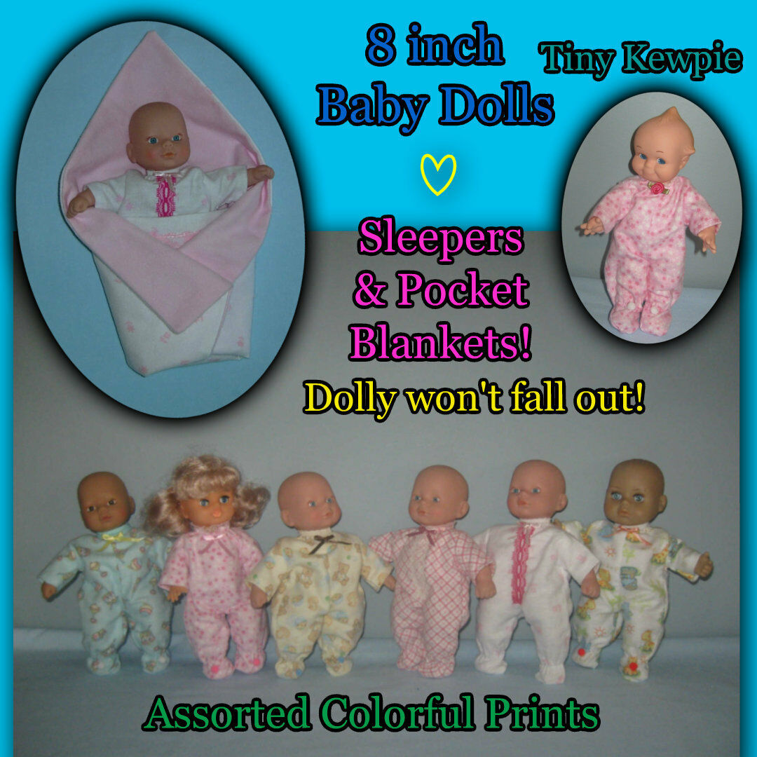 "SLEEPER 8"" BABY DOLL CLOTHES & POCKET BLANKETS Handmade by the Crafty Grandmas"