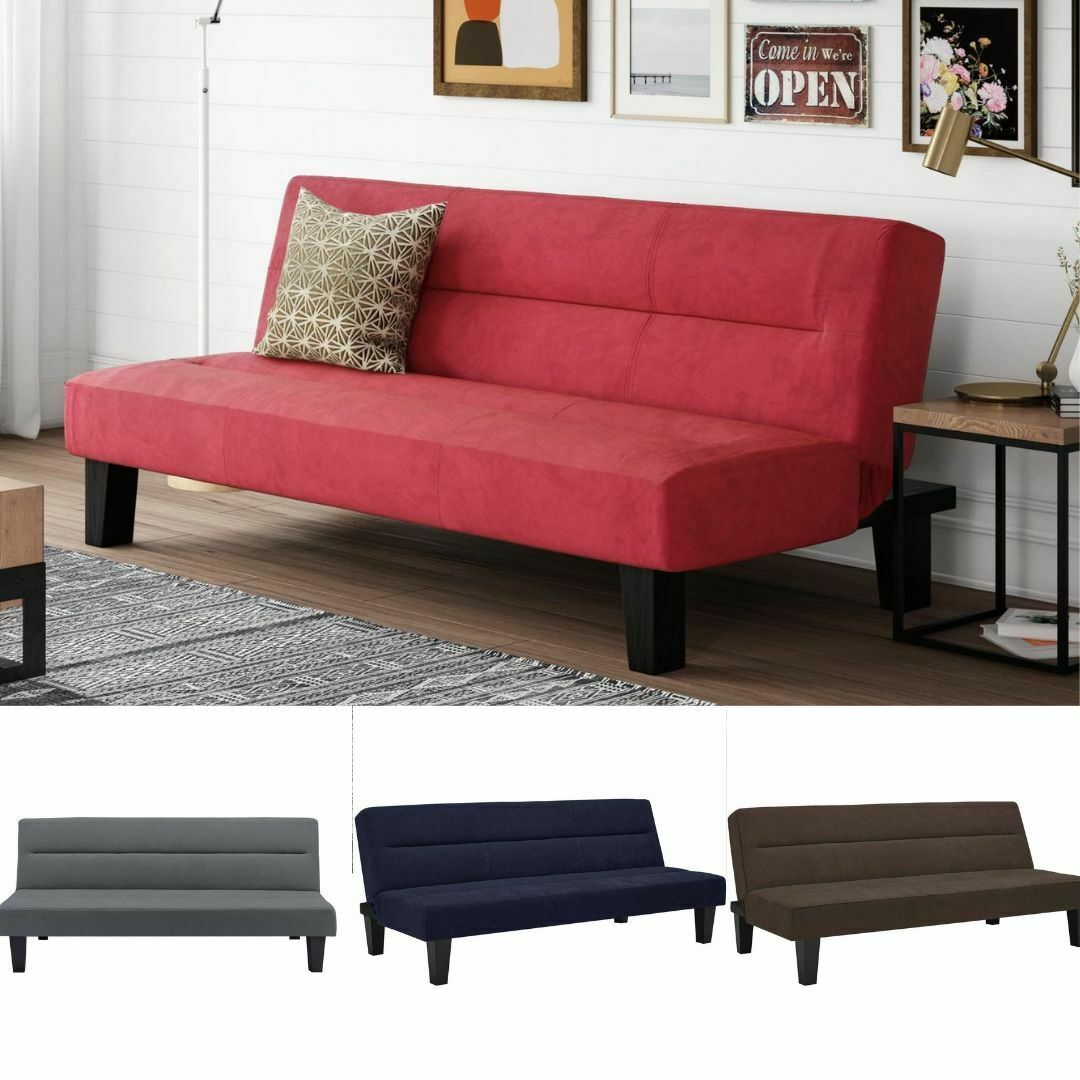 Black Futon Couch W// Microfiber Cover Home Office Sofa Bed Furniture Full Twin