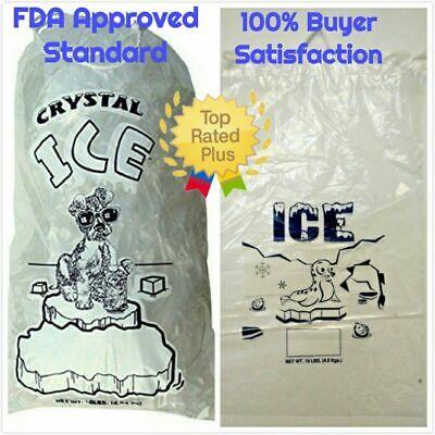 COMMERCIAL 500 PCs Clear 10 LB / LBs 8 LB / LBs Plastic Ice Bag Bags Drawstring  10 Lb Ice Bags
