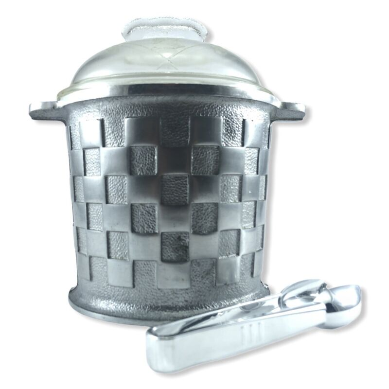 VINTAGE Guardian Ware Aluminum Ice Bucket w/plastic Liner & Glass Lid  Ice Tongs
