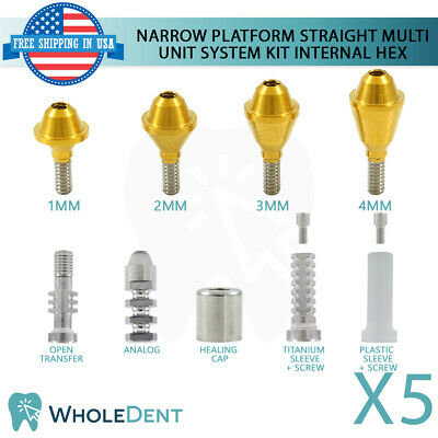 5x Narrow Straight Abutment Multi Unit System Kit Dental Implant Internal Hex