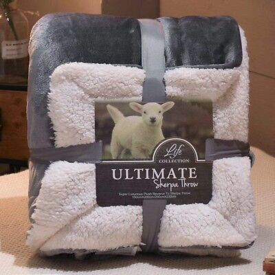 Grey 150*200 Plush Sherpa Fleece Blanket Luxury Warm Home Sofa Bed Throw gifts