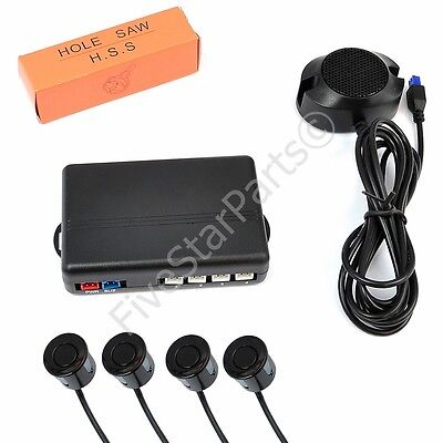 Reverse rear parking sensors KIT (4) with Buzzer audio alarm BLACK