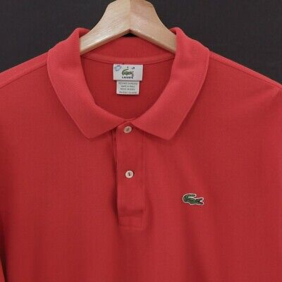 Mens Lacoste Polo Shirt Size 8 Short Sleeve Cotton Red