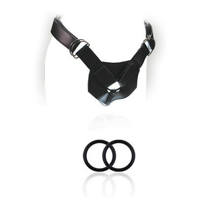 03 Harness Strap (Blush Novelties Leather Advance Adjustable Strap-On Harness w/ 2 Silicone)