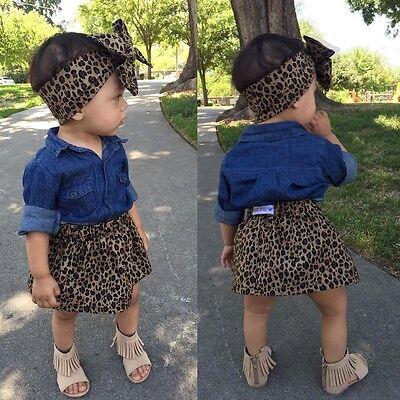 3PCS Toddler Kids Girls Summer Dress Clothes denim Tops Leopard Skirt Outfit Set](Toddler Leopard Dress)