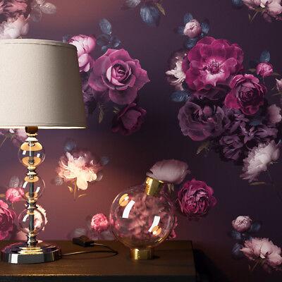 NEWROOM Blumentapete Papiertapete Schwarz Rosen Blumen Floral Violett Natur 3D