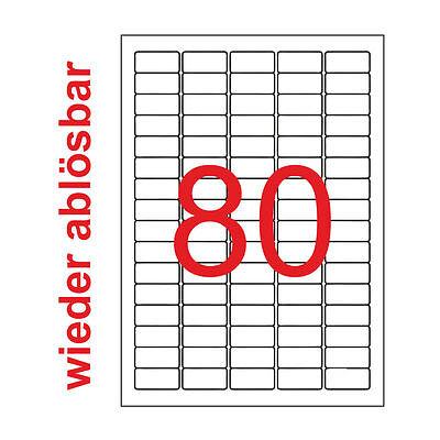 35,6x16,9 mm Premium Etiketten Wieder Ablösbar 10 A4 800 Aufkleber 35x16 Weiß