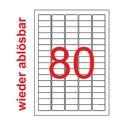 800 Etiketten 35,6x16,9 mm Wieder Ablösbar 10 Blatt A4 Weiß 35x16 mm Preisschild