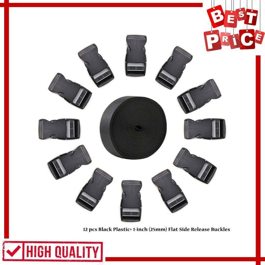 Black Nylon Heavy Webbing Strap With Plastic Flat Side Relea