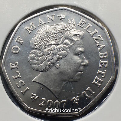 2007 IOM Xmas Currency Finish 50p coin with AA die marks