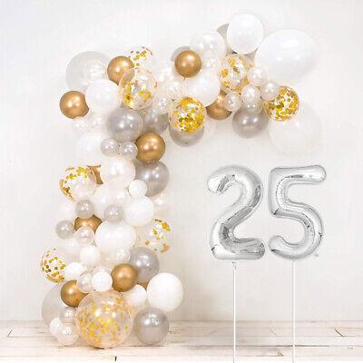 25th Bodas de Plata Bricolaje Globo Arco Kit - Incluye 120 +...