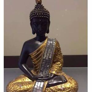 Sitting black and gold Buddha Mickleham Hume Area Preview