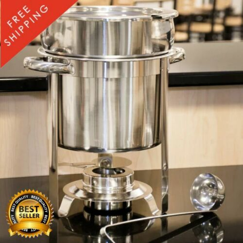 Deluxe 7 Quart Soup Chafer Marmite Stainless Steel Round Chafing Dish Restaurant