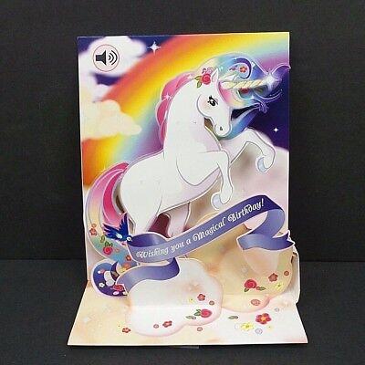 Unicorn Birthday Card - Unicorn Rainbow Happy Birthday Greeting Card 3D Pop Up with Sound Effects