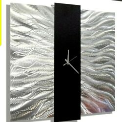 Metal Wall Art Clock  ULTRA MODERN Silver Black clock  ORIGINAL ART Jon Allen