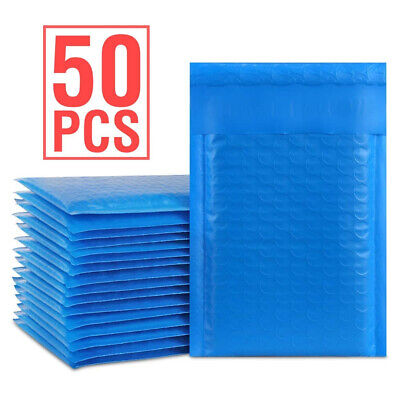 Durable Padded Envelopes 4x8 Bubble Wrap Mailers Poly Small Bags Blue Jewelry 50