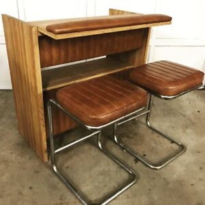 Super Cool Vintage Bar w/ Matching Cantilever Stools