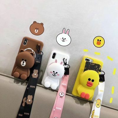 For iPhone X XS Max 7 8 Plus 3D cute cony Brown Bear Coin Purse Strap phone Case