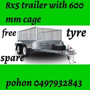 8x5 Brand new Galvanised Box Trailer 600 MM with cage 📞📞