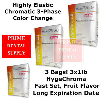3 Bags Hygechroma Alginate Dental Impression Material 3 Phase Color Change 3x1lb