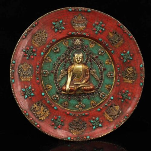 Old Tibet Temple Bronze Inlay Turquoise Gem Sakyamuni Buddha Statue Wall Hanging