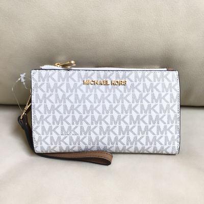 NEW Michael Kors Signature Vanilla Acorn Double Zip Phone Case Wallet Wristlet