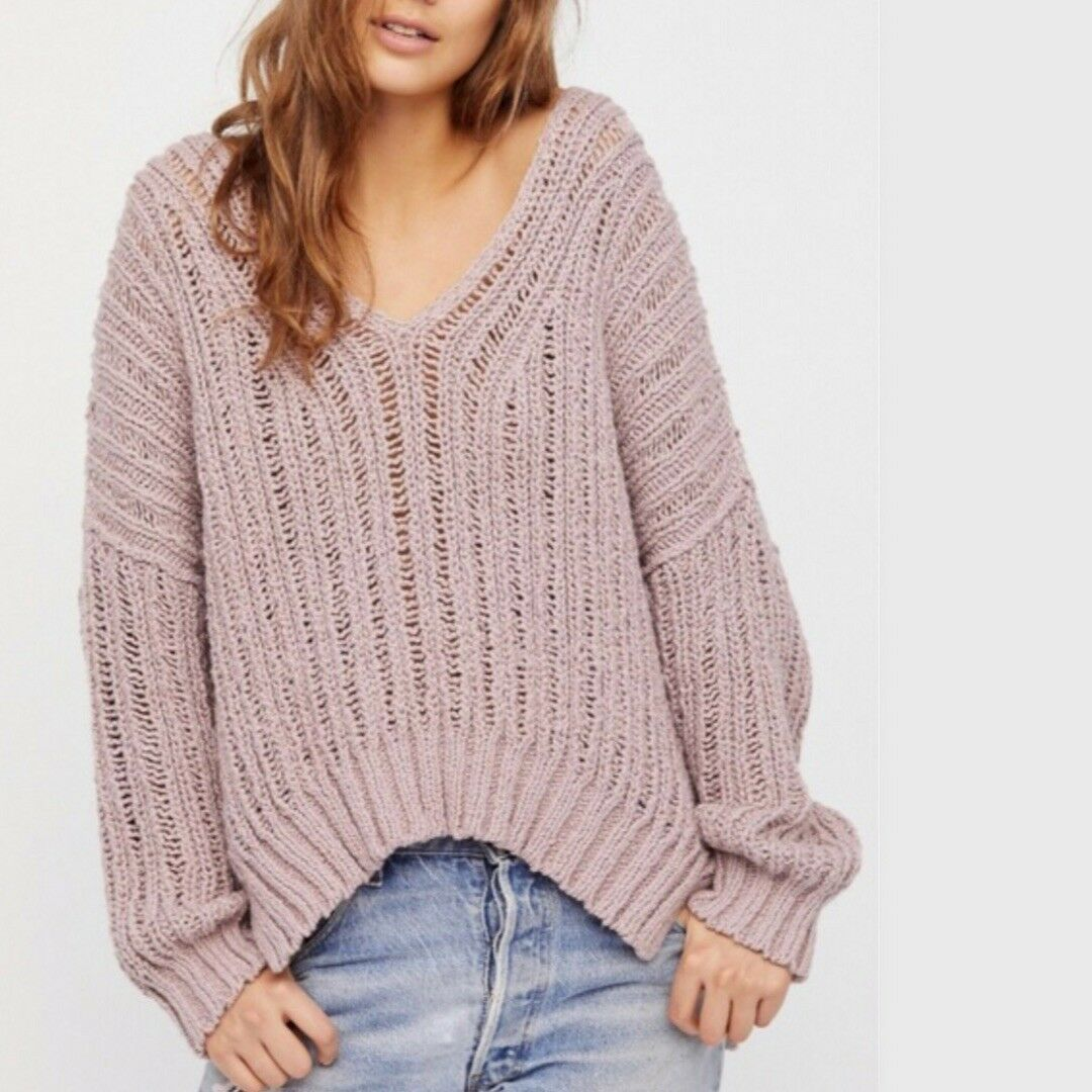 pretty nice fa481 79c19 Details about NWT FREE PEOPLE Infinite V-Neck Sweater Pullover Medium M  $128 Lavender OB761266