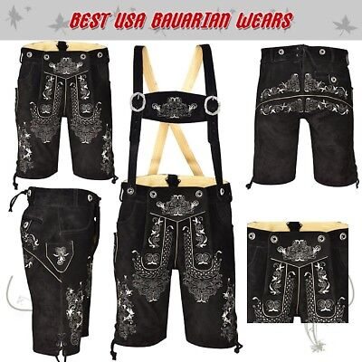 Authentic Men Oktoberfest German Lederhosen Bavarian Short Outfit Costume for sale  Shipping to Canada