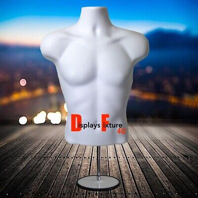 Mannequin For Jewelry Or Clothing Displays - Male Form Stand Hook - White